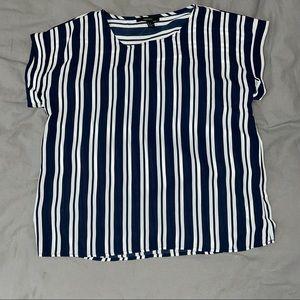Forever 21 Navy/White Striped Blouse